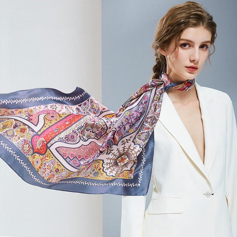 100% foulards en soie Pure 108*108cm Femmes écharpe d'hiver chinois Pure soie foulard carré, enveloppes et châles Hangzhou vrais foulards en soie