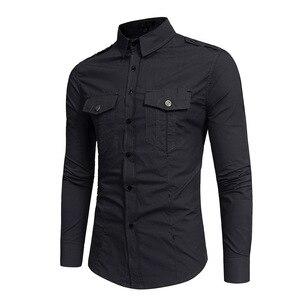 Image 3 - Chemise tactique pour hommes, à manches longues, en coton, de marque, respirante, Slim, Style Safari, 2018