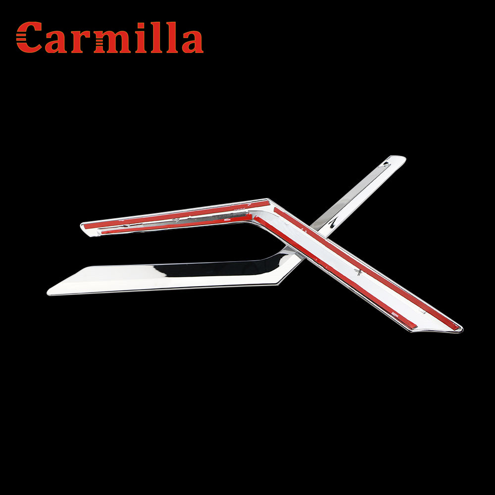 Carmilla Chrome Front Grille Decoration Cover Trim Sticker for Nissan X-trail X Trail Xtrail Rogue T32 2013 - 2016 Accessories abs chrome door stereo speaker ring cover fit for x trail rogue xtrail t32 2014 2015 speaker decoration trim accessories