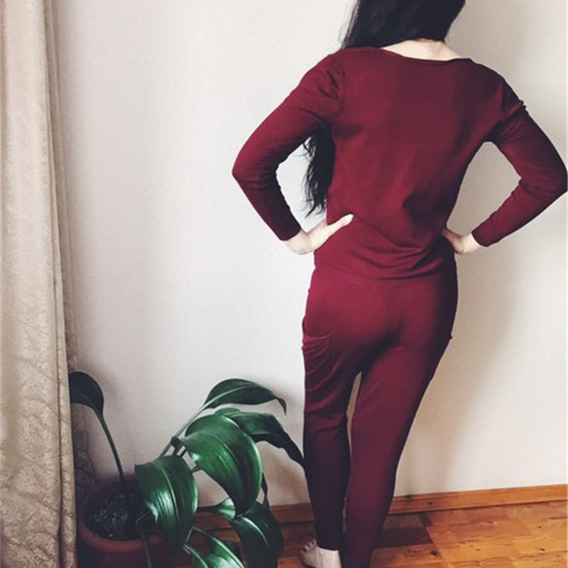 17 Hot 2 Pieces Set Women V-Neck Sexy Knitted two pieces sets Spring Suits Tracksuit Sweater top+ Pants Set Womens Casual Suit 17