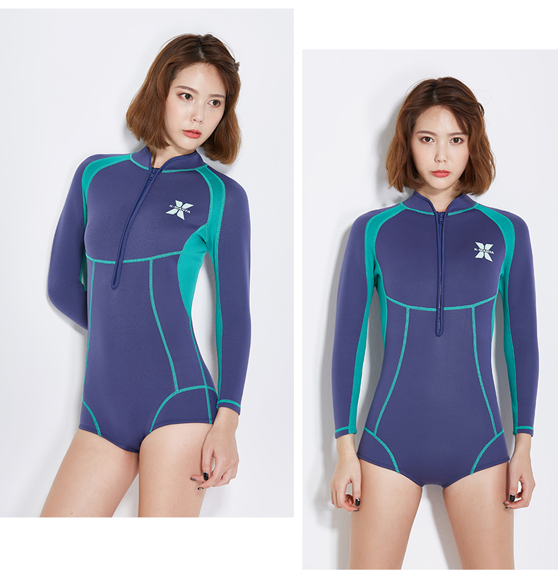 39fa5a091b Womens Spring Wetsuit 1.5mm Neoprene Shorty Wetsuits Long Sleeve Wet Suit-in  Wetsuit from Sports   Entertainment on Aliexpress.com