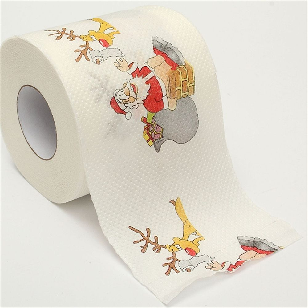 1 Roll Santa Claus Picture Printed Design Toilet Tissue Cute Craft Safe Hygienic Sanitary Paper Xmas
