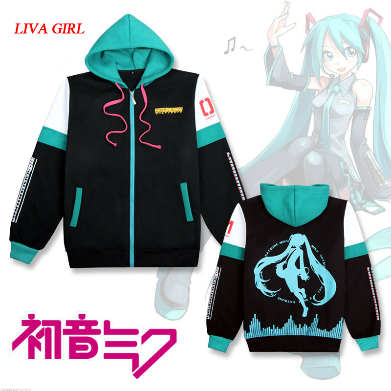 New Hatsune Miku Cosplay Costumes Women/Giles Hoodies & Sweatshirts Cotton Long Sleeved Hooded Fleece Thick Coat Cotton Tops