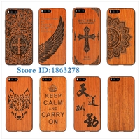 Rejaski Brand Wolf Totem Henna Flower Cross Natural Bamboo Wood Phone Case For Xiaomi6 MI6 Xiaomi