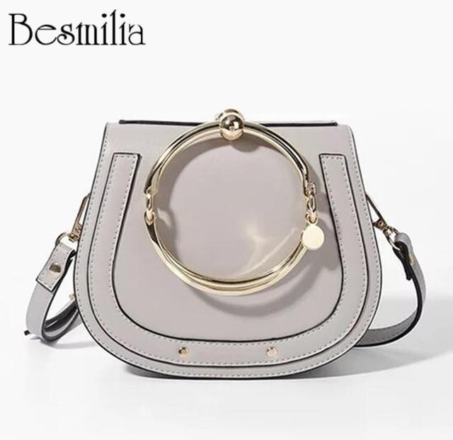 New Design Women s Handbag Metal Ring Wristles Tote Saddle Bag PU Leather  Shoulder Bag Casual Crossbody aa52ecd2466ba