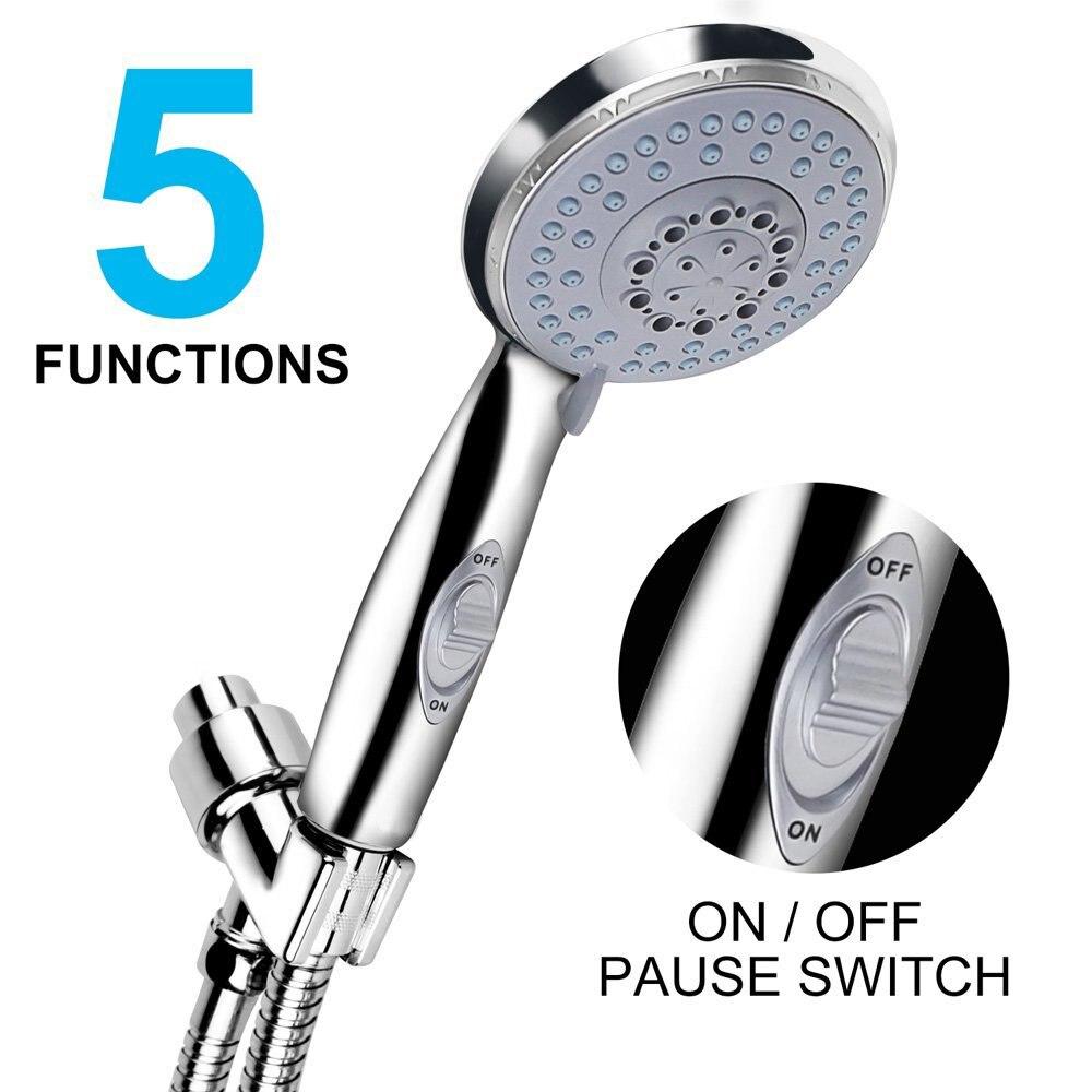 Cheen Handheld Großen Regen Badezimmer Dusche Kopf Hochdruck 5 Spray Einstellungen Abnehmbare Chrome Finish mit Pause Schalter
