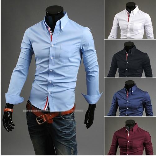 Drop  Shipping Men's Shirts Plus Size M-XXXL New Arrival Slim Fit Stylish Dress Long Sleeve Shirts Hot Selling