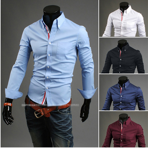 Free Shipping Men's Shirts Plus Size M-XXXL New Arrival Slim Fit Stylish Dress Long Sleeve Shirts Hot Selling