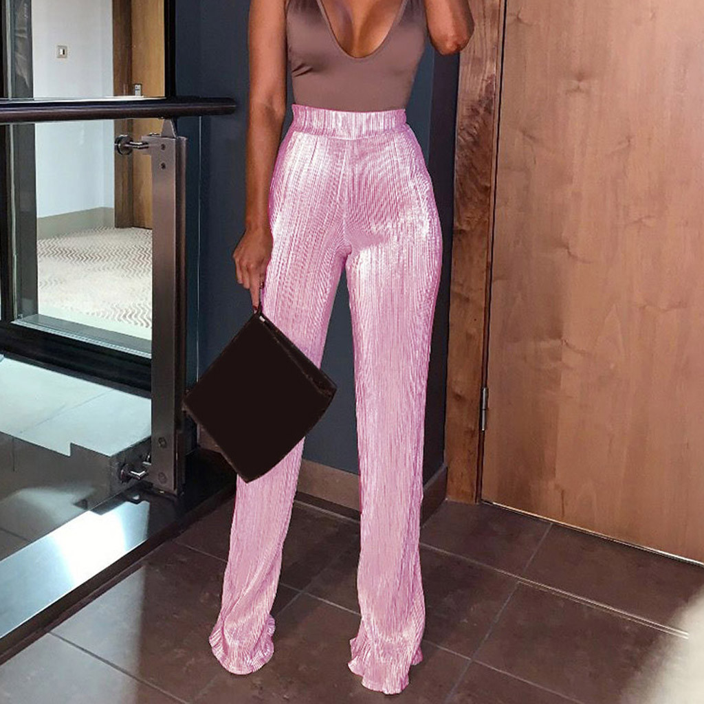 Wide     Leg     Pants   pink trousers High Waist   Pants   female Summer Streetwear office work white long pantalones verano mujer 2019