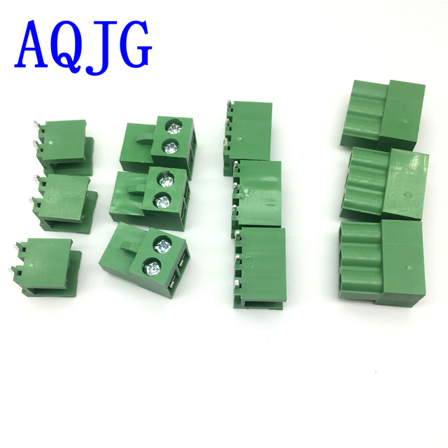 50sets Terminal plug type ht5.08 5.08mm pitch connector pcb screw terminal blocks connector Right Angle 2pin 3pin Green 10A AQJG