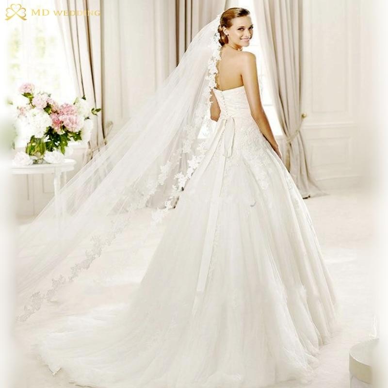White/Ivory Wedding Veil 3m Long Comb Lace Mantilla Cathedral Bridal Veil Wedding Accessories Veu De Noiva Real Photos