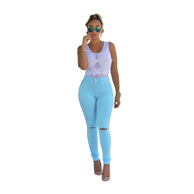 Candy Colors Jeans Femme Fashion High Waisted Skinny Jeans Woman Sexy Hip Lift Women Cotton Broken Hole Jeans Pencil Pants XXXL