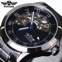 2016 New Fashion Men Male Winner Brand Mechanical Watch Steel Automatic Stylish Classic Skeleton Steampunk Wristwatch
