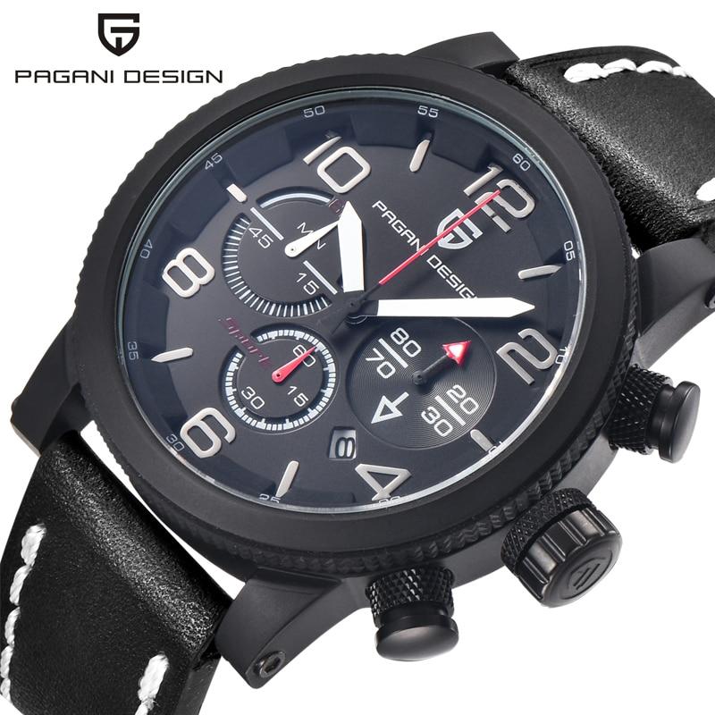 Luxury Brand PAGANI DESIGN Men Genuine Leather Quartz Watch Waterproof Casual Mens Sports Outdoor Wrist Watch