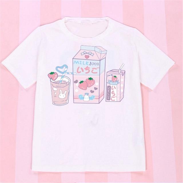 e8c7b1a19e7475 2018 Korean Summer Brand T-shirt Women Bts Shoulder Off Tops Kawaii  Strawberry milk box