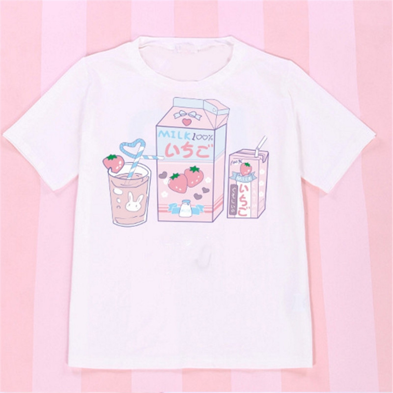 2018 Korean Summer Brand T-shirt Women Bts Shoulder Off Tops Kawaii Strawberry milk box Vadim Tee Blusa Listrada Feminina ...