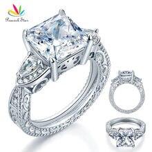 Estrellas De Lujo del pavo real 3-Stones Esterlina del Sólido 925 Silver Wedding Promise Ring Estilo Vintage 4 Ct Princesa Diamante Creado CFR8237