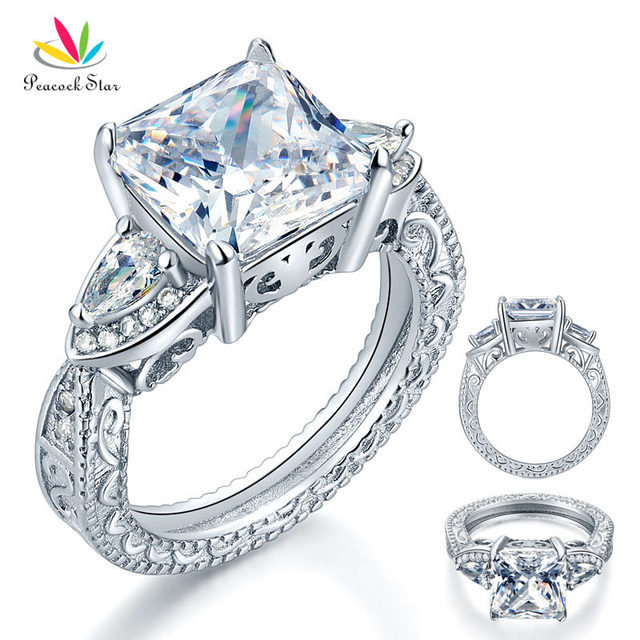 Peacock Star Luxury 3-Stones Solid 925 Sterling Silver Wedding Promise Ring Vintage Style 4 Ct Princess Created Diamond CFR8237