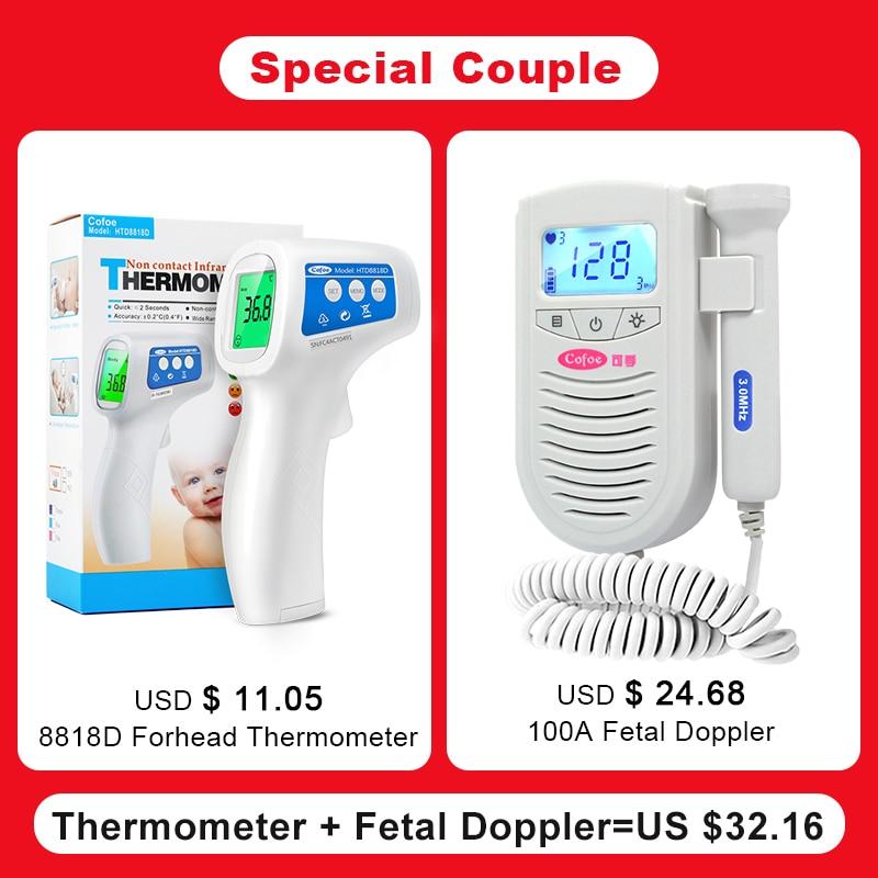 Cofoe Fetal Doppler Bebê Heart Rate Monitor + Infravermelho Testa Corpo Febre Termômetro de Medição de Temperatura Para Grávidas