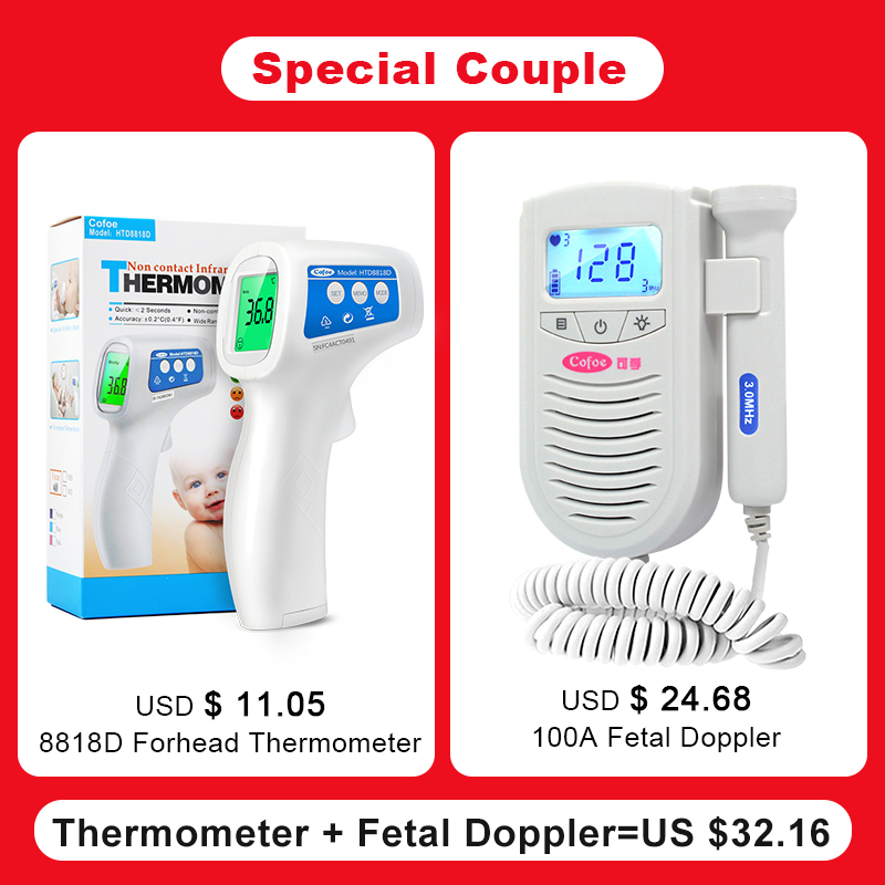 Cofoe Fetal Doppler Baby Heart Rate Monitor+ Infrared Forehead Thermometer Body Fever Temperature Measurement For Pregnant