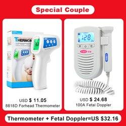 Cofoe fetal doppler bebê monitor de freqüência cardíaca + infravermelho testa termômetro temperatura do corpo febre medição para grávida
