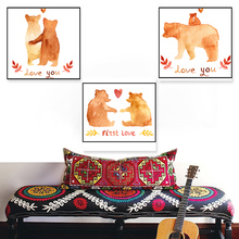ФОТО nordic warm bear family posters and prints wall art canvas painting wall pictures children's room decorations painting