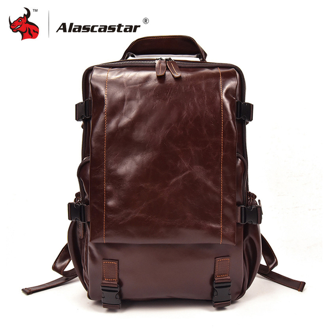 1a74cea46d Motorcycle Bag Casual Backpacks Travel Bag Full Grain Cow Leather Retro  Vintage Men s Motorcycle Backpack Luggage Bags