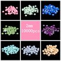 Muitas Cores AB Pérolas de Imitação Metade Rodada 2mm 10000 pçs/lote Flatback Beads Para Fazer Jóias Telefone Decoração de Unhas Arte