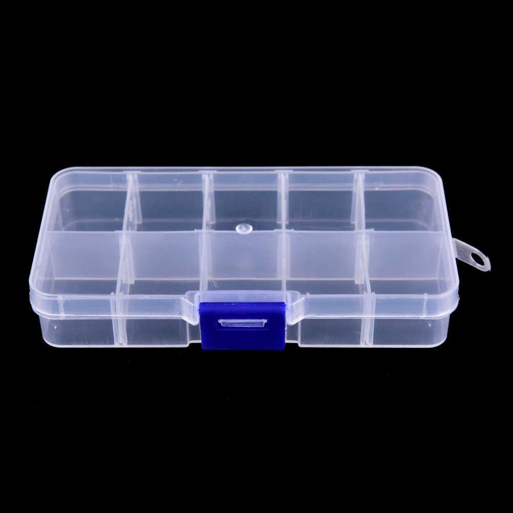 Caja de aparejos de pesca de plástico transparente Visible duradera de 12,8x6x2,3 cm caja de almacenamiento de Señuelos de Pesca con 10 compartimentos caja de herramientas para peces