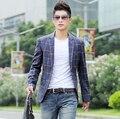 Тонкий bleiser masculino Горячие продаем стиль люксовый бренд Плед пиджак мужская blazer одежда модная повседневная плед дизайн blaser