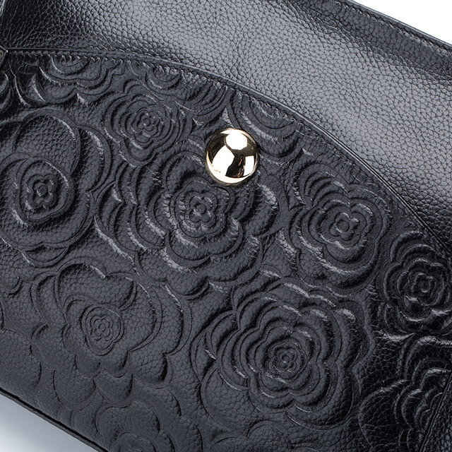 Fashion Embossed Rose Flower Genuine Leather Cowhide Women Messenger Handbags Shoulder Bags Ladies Bag Famous Brand High Quality