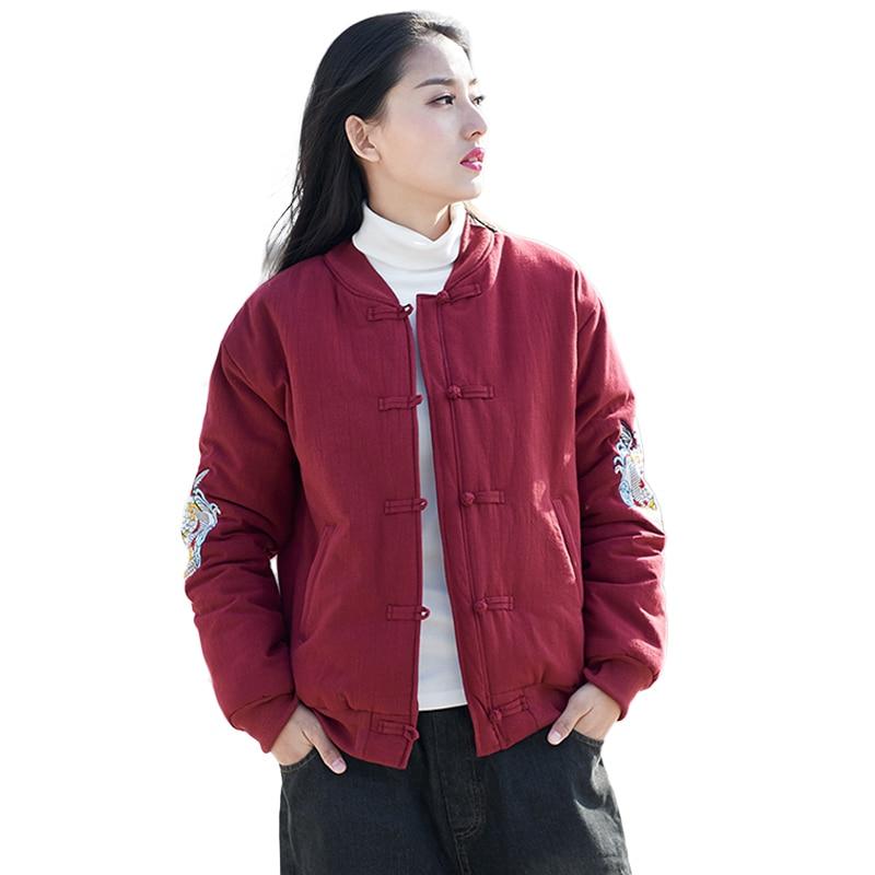 LZJN Embroidery Bomber Jacket Womens Winter Jackets and Coats Thin Parkas Chinese Cotton Jacket Overcoat Baseball