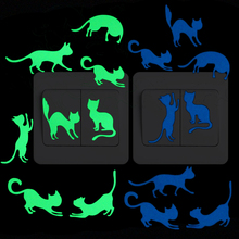 8 Cats Luminous Switch Sticker Lovely Funny Cartoon Animal Glow Wall Kids Room Bedroom Bed Wardrobe DIY Decoration Decal