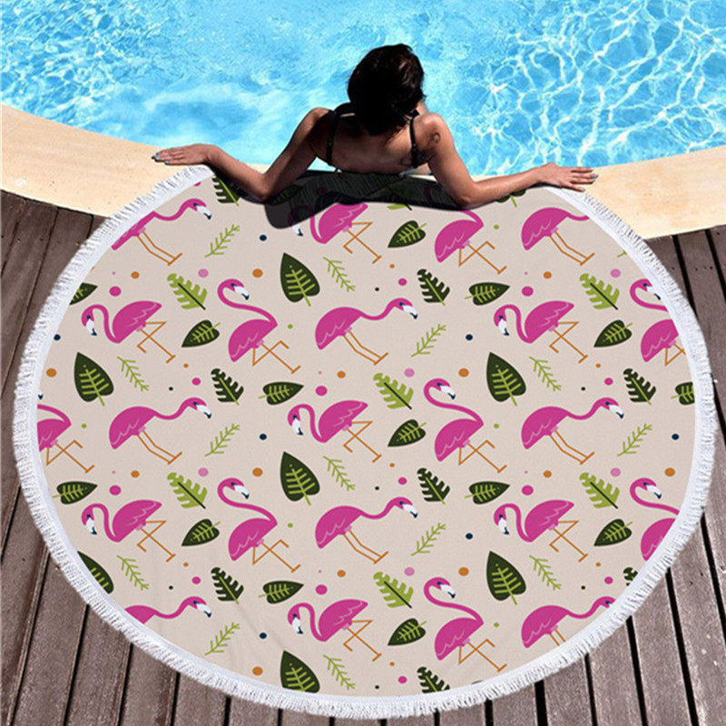 2018 New Flamingo Beach Towel Microfiber Round Large Beach Towel With Fringe Lace Various Patterns of Picnic Mat Yoga Mat
