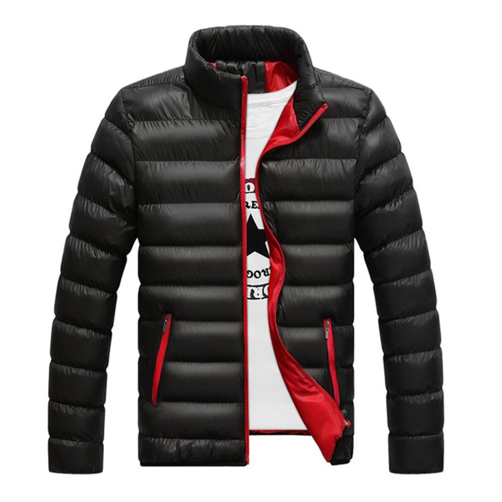 Winter Men Cotton Jacket Thickened Parkas Slim-cut Warm Padded Overcoats Stand Collar Male Wind Breaker Outwear Male Cloth M-4L