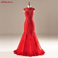 Rojo Largo Del Cordón de La Sirena de Baile Vestidos de Fiesta de Cristal Con Cuentas de Noche Formal Vestidos de Fiesta de Graduación vestidos de formatura