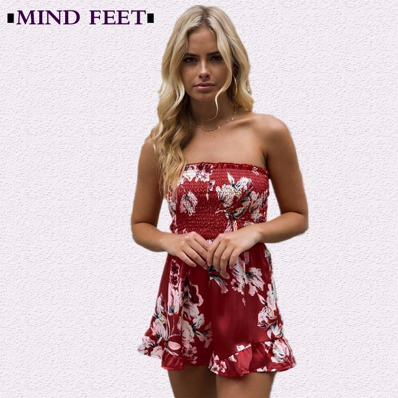 MIND FEET Summer Women Playsuits Floral Ruffles Off Shoulder Elastic Sexy Printing Strapless Short Rompers Pants Lady Jumpsuits