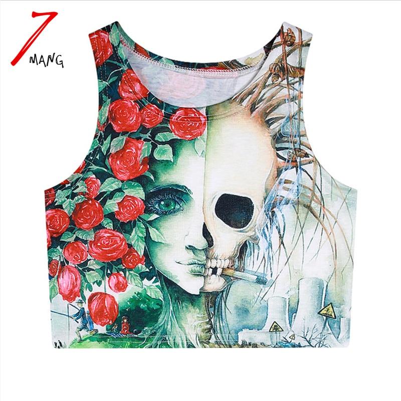 7mang 2018 summer women cotton comfortable harajuku cartoon skeleton print crop top short slim stretchy flower tank top