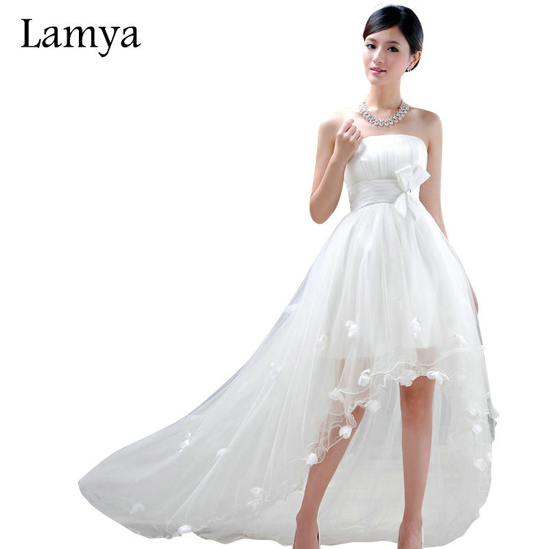Buy lamya customize high low short beach for Beach wedding dresses for plus size