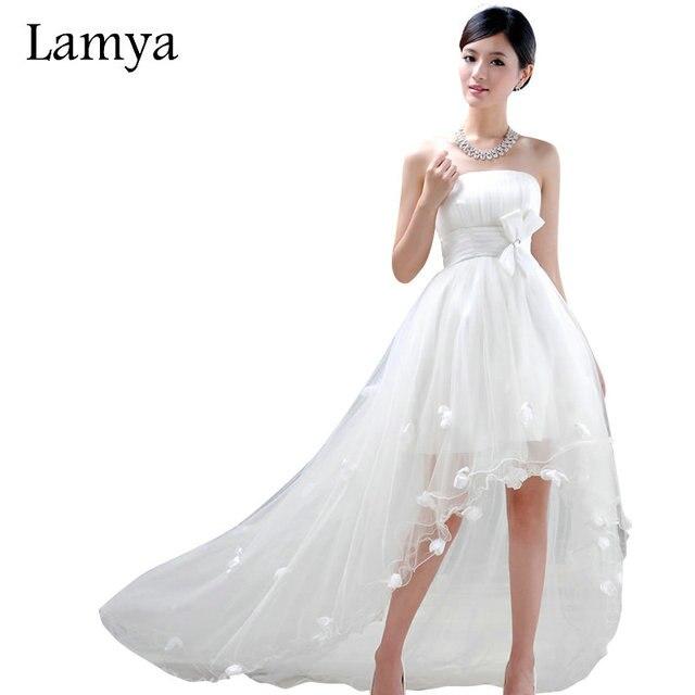 lamya personalizar alto bajo corto vestido de boda de playa barato