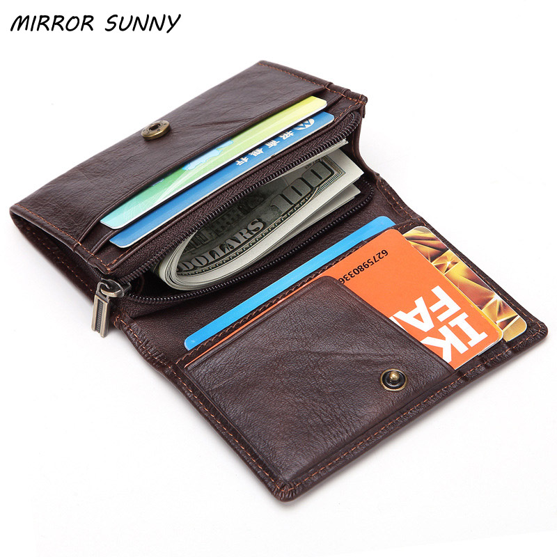 MIRROR SUNNY New Desig Genuine Leather Men Small Wallet High Quality Top Layer Cowhide Male Handbag Mens Pocket Purse Potable