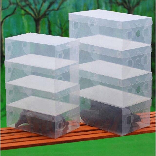 useful 10pcs transparent clear plastic shoes storage boxes foldable shoes case holder