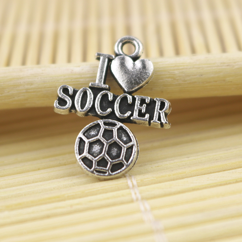 Hanti Jewelry Findings Vintage Silver Alloy American I Love Soccer Pendant Charms Fit Nacklace Bracelet 15*21MM 50pcs/lot