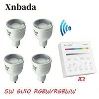 5W LED Bulb GU10 RGBW RGBWW MiLight Dimmable 2.4G Lamp Light + 3V B3 RF Wireless LED Remote Control Spotlight Light AC86 265V