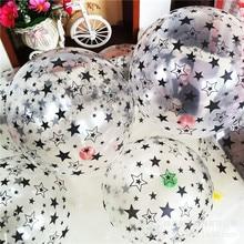 10 adet 12 inç şeffaf siyah beyaz yıldız lateks balonlar şişme hava balon yıldız düğün doğum günü partisi dekorasyon çocuk oyuncak