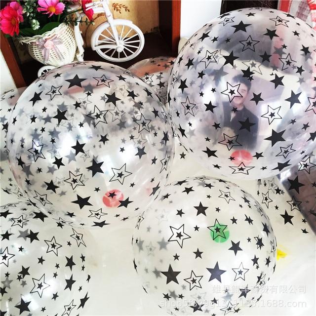 Ballons en Latex pour anniversaire, 10 pièces, 12 pouces, étoile transparente, noire et blanche, ballons à Air, jouet de décoration pour enfants