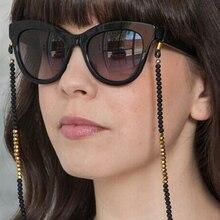 Блестящий Черный Серебряный Золотой акриловый бисер цепочка для очков цепочка ожерелье шнур для очков для чтения Держатель шейный ремешок веревка для очков