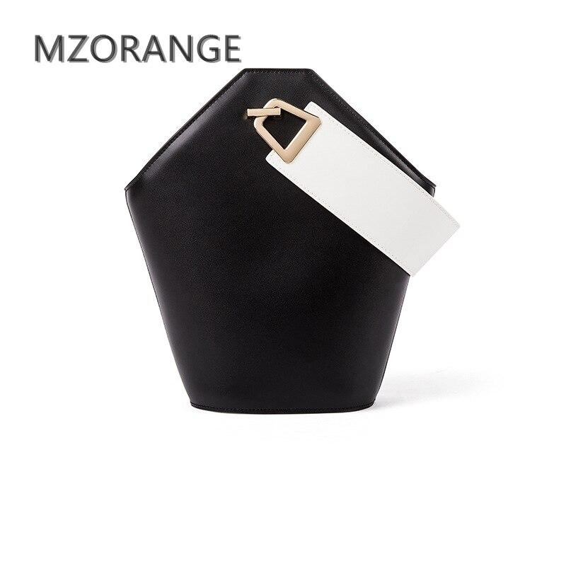 MZORANGE 2018 Nouvelle conception unique Femmes Seau Sac 100% Véritable Sac À Main En Cuir Simple Mode Dame Fourre-Tout d'épaule sac bandoulière