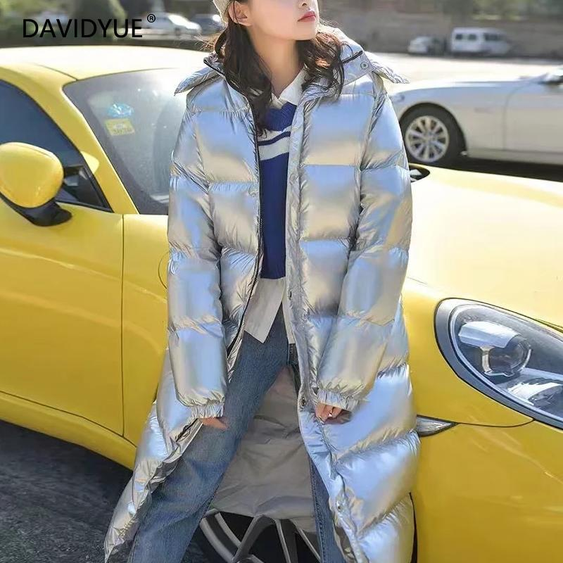 2018 winter long   parka   jacket women warm Silver metal hooded Down jacket female   Parkas   Street zipper long sleeve winter coat