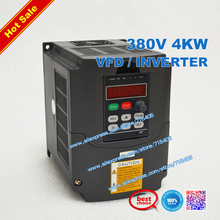 цена на 380v 4kw VFD / Inverter Variable Frequency Drive CNC spindle motor driver speed controller 3HP Input output